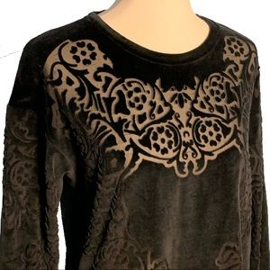Zara NWOT Black Floral Burn-Out Velvet Plush Top